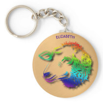 Rainbow Sheep Lamb With Shadows Drawing Keychain