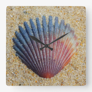 Rainbow Shell Buried In Sand Square Wall Clock