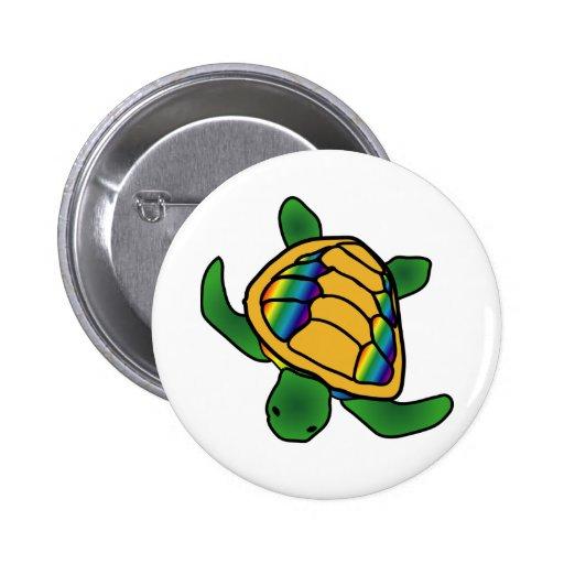 Rainbow Shell Turtle Button