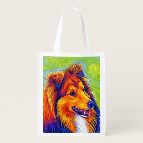 Rainbow Sheltie Dog Reusable Grocery Bag