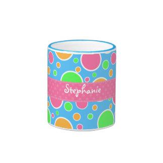 Rainbow Sherbet Polka Dots Ringer Mug