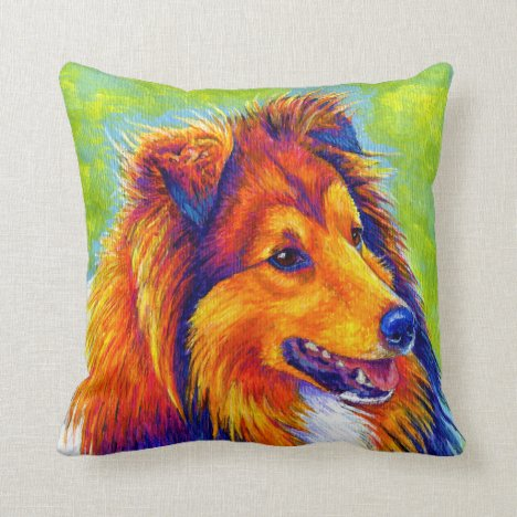 Rainbow Shetland Sheepdog Sheltie Dog Throw Pillow
