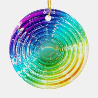 Rainbow Shockwave Ceramic Ornament
