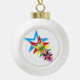 Rainbow Shooting Stars Ceramic Ball Ornament