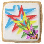 Rainbow Shooting Stars Shortbread Cookie Square Premium Shortbread Cookie