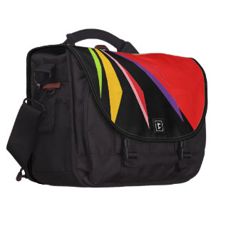 Rainbow shoots on black and red laptop commuter bag