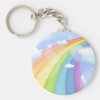 Rainbow Shower Basic Round Button Keychain