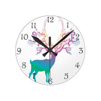 Rainbow Silhouette Deer Round Clock