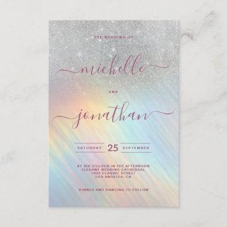 Rainbow Silver Glitter Holographic Wedding Invitation