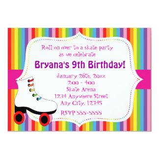 Rainbow Skating Skate Party Invitation