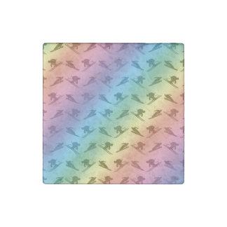 Rainbow ski pattern stone magnet