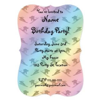 Rainbow ski pattern 5x7 paper invitation card