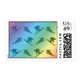 Rainbow ski pattern postage