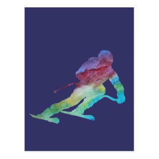 Rainbow Skier Postcard