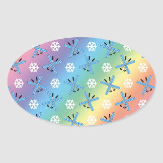 rainbow skis and snowflakes pattern oval sticker