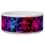 Rainbow Skull Bling Dog Bowl