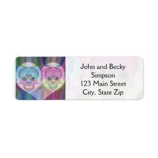 Rainbow Skull Couple Sugar Skulls Return Address Label