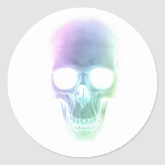 Rainbow Skull - Custom Background Classic Round Sticker