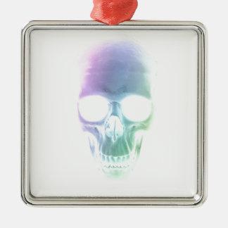 Rainbow Skull - Custom Background Metal Ornament