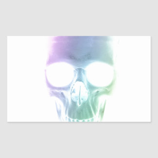 Rainbow Skull - Custom Background Rectangular Sticker