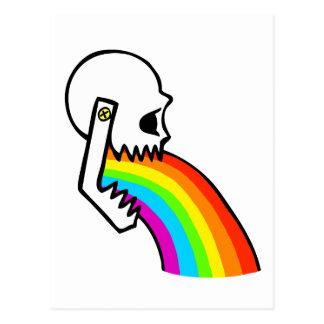 Rainbow Skull Puke Postcard