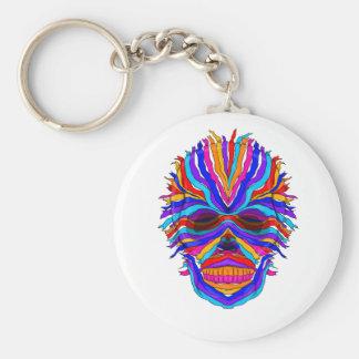 Rainbow Skull Ribbon Keychain