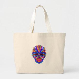 Rainbow Skull Ribbon Large Tote Bag