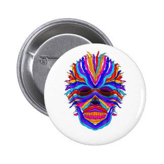 Rainbow Skull Ribbon Pinback Button