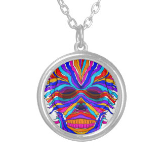 Rainbow Skull Ribbon Silver Plated Necklace