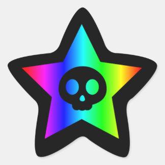Rainbow Skull Star sticker