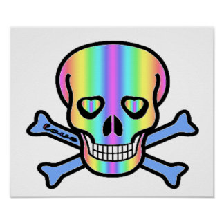 Rainbow Skulls Poster