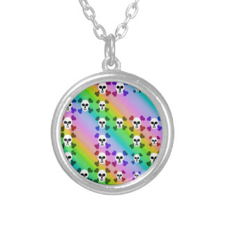 Rainbow Skulls Silver Plated Necklace