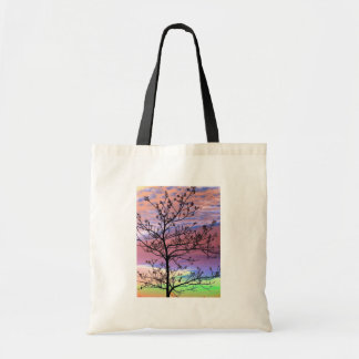 Rainbow Sky Barren Tree Canvas Bags