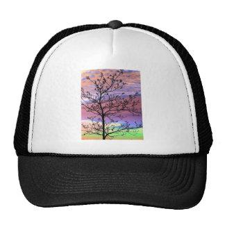 Rainbow Sky Barren Tree Trucker Hat