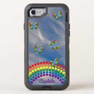 Rainbow Sky Butterflies | Monogrammed Girly OtterBox Defender iPhone 7 Case