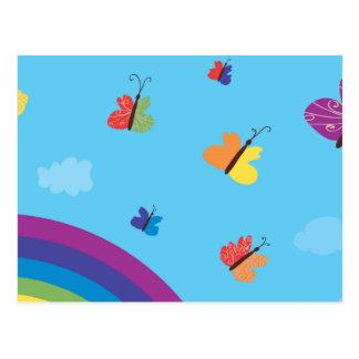 Rainbow Sky Butterflies Postcard