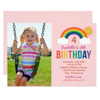Rainbow Sky | Light Pink Photo Birthday Party Invitation