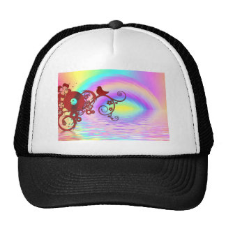 Rainbow Sky Pattern Digital Art Peace Love Destiny Mesh Hats