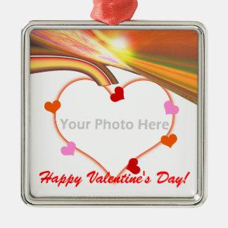 Rainbow Sky Valentine Hearts (photo frame) Metal Ornament