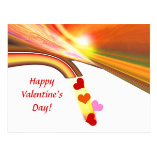 Rainbow Sky Valentine Hearts Postcard