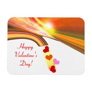 Rainbow Sky Valentine Hearts Rectangular Photo Magnet