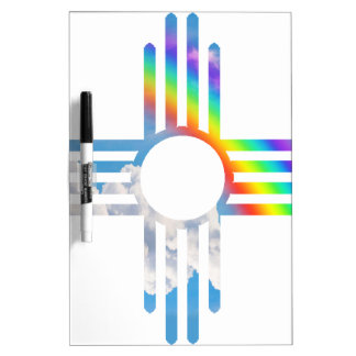 Rainbow sky Zia sun symbol Dry Erase Board