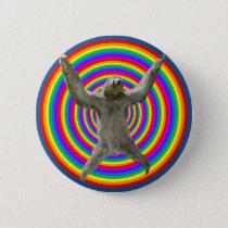Rainbow Sloth Pinback Button