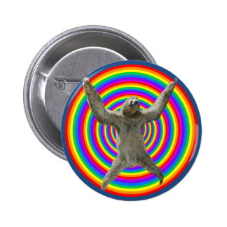 Rainbow Sloth Pinback Button