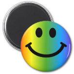 Rainbow Smiley 2 Inch Round Magnet