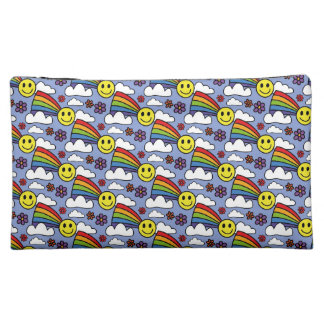 Rainbow Smiley Face and Flowers Hippie Pattern Cosmetic Bags