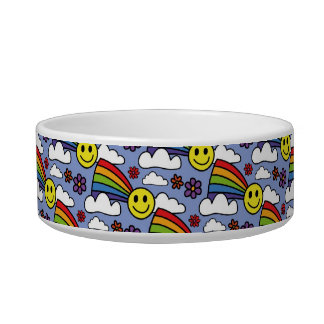 Rainbow Smiley Face and Flowers Hippie Pattern Bowl