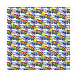Rainbow Smiley Face and Flowers Hippie Pattern Canvas Prints