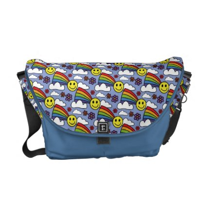 Rainbow Smiley Face and Flowers Hippie Pattern Commuter Bag