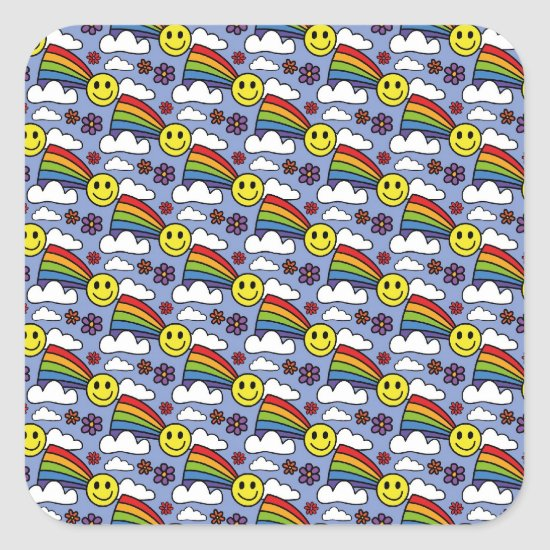 Rainbow Smiley Face and Flowers Hippie Pattern Square Sticker